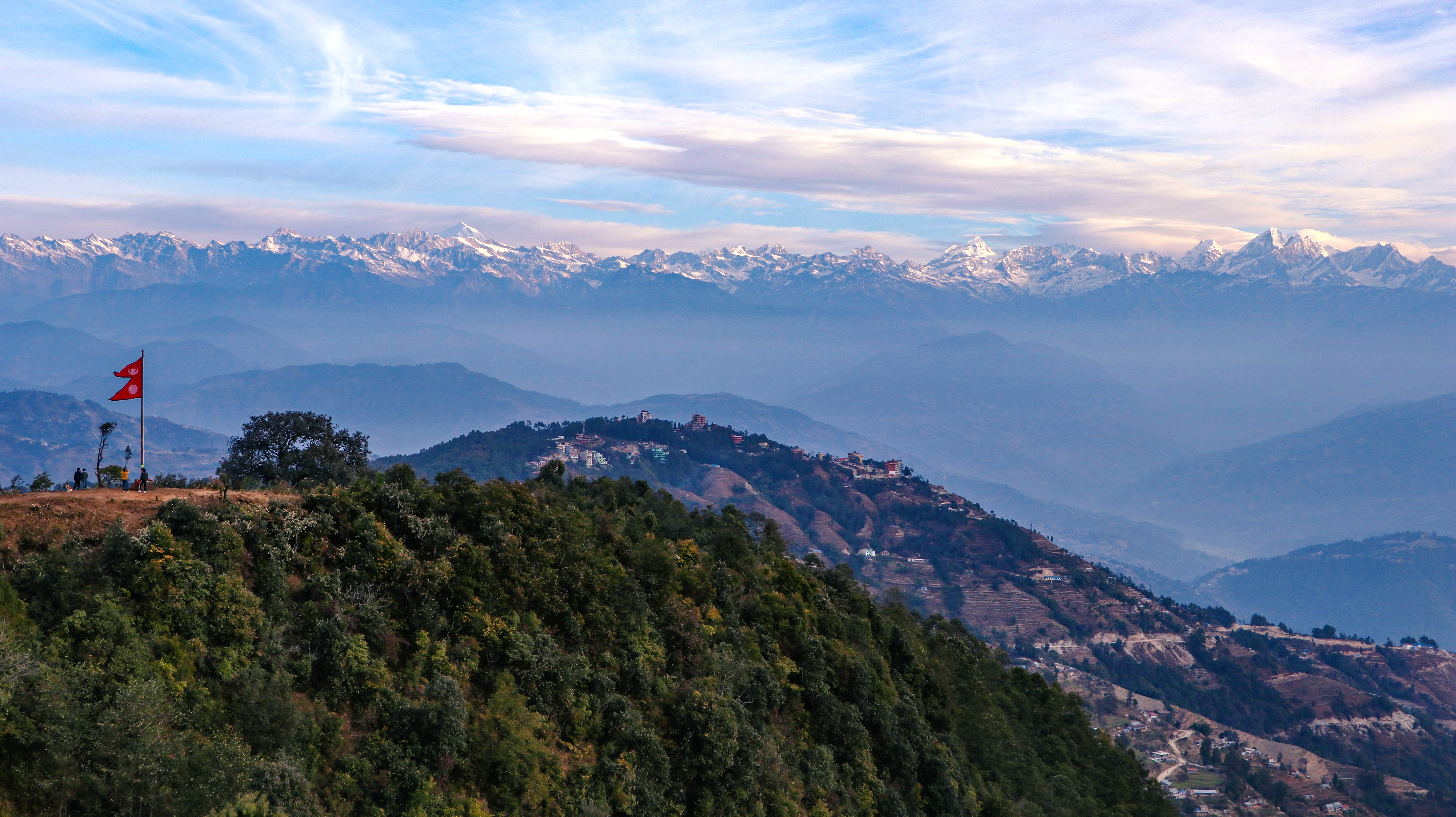 Wide View of mountains from Nagarkot Hills